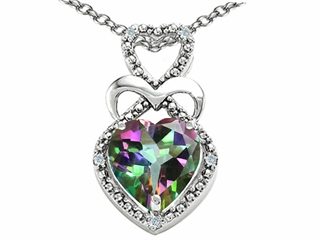 Tommaso Design(tm) Heart Shape 8mm Mystic Rainbow Topaz and Diamond Pendant