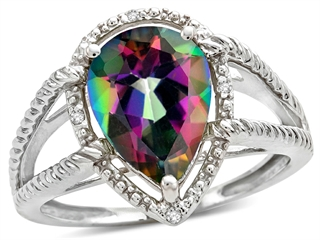 Tommaso Design(tm) Pear Shape 11x8mm Mystic Rainbow Topaz and Diamond Ring