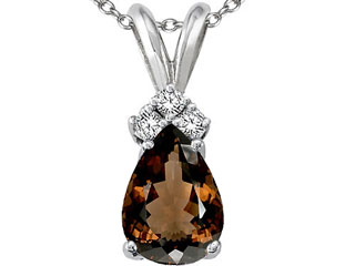 10k Gold Genuine Smoky Quartz Pendant