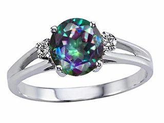 Tommaso Design(tm) Rainbow Mystic Topaz and Diamond Ring