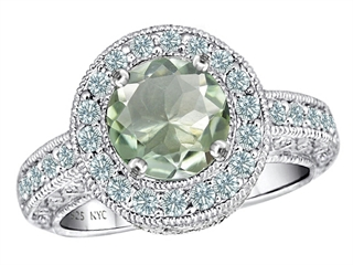 925 Sterling Silver 14K White Gold Plated Genuine Round Green Amethyst Engagement Ring