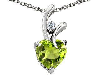 925 Sterling Silver 14K White Gold Plated Genuine Heart Shaped Peridot Pendant peridot pendant
