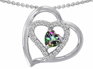 Original Star K(tm) 6mm Heart Shape Rainbow Mystic Topaz Pendant