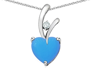 925 Sterling Silver 14K White Gold Plated Created Heart Shaped Turquoise Pendant