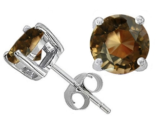 Original Star K(tm) Round 7mm Genuine Smoky Quartz Earring Studs