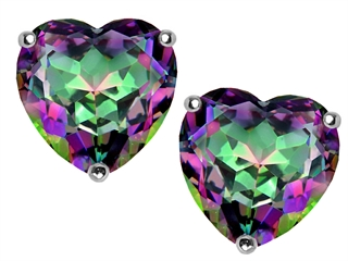 Original Star K(tm) 7mm Heart Mystic Rainbow Topaz Earring Studs
