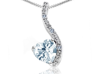 Tommaso Design(tm) Heart Shape 6mm Genuine Aquamarine and Diamond Pendant