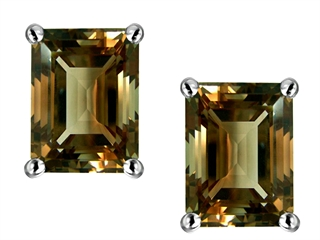 Original Star K(tm) Emerald Cut 8x6mm Genuine Smoky Quartz Earrings