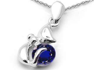 14K White Gold Plated 925 Sterling Silver Round Lab Created Sapphire Cat Pendant