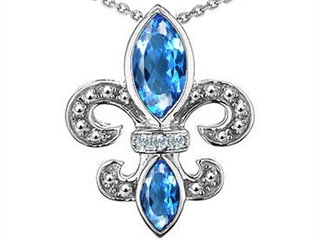 Original Star K(tm) Genuine Blue Topaz and Diamond Fleur De Lis Pendant