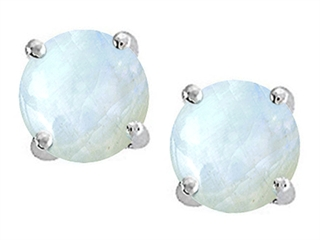 14K White Gold Plated 925 Sterling Silver Round Genuine Rainbow Moonstone Earrings Studs