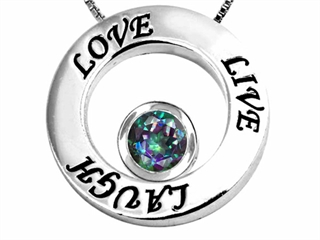 Original Star K(tm) Live/Love/Laugh Circle of Life Pendant with Round 7mm Mystic Rainbow Topaz