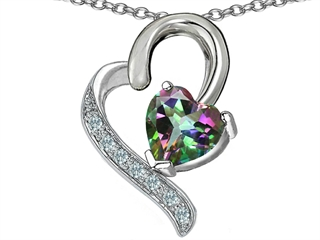 Original Star K(tm) 7mm Heart Shape Genuine Mystic Rainbow Topaz Heart Pendant