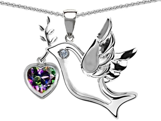 Original Star K(tm) Peace Love Dove Pendant with 7mm Heart Shape Rainbow Mystic Topaz