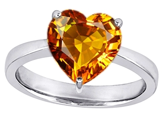 14k White Gold Plated 925 Sterling Silver Large Heart Shape Solitaire Engagement Ring with Genuine Citrine