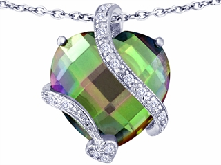 Original Star K(tm) Large 15mm Heart Shape Rainbow Mystic Topaz Love Pendant