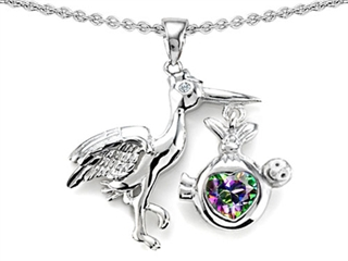 Original Star K(tm) New Baby Stork Mother Pendant with Heart Shape Mystic Rainbow Topaz