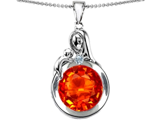 Original Star K(tm) Loving Mother With Child Family Large Pendant With Round 10mm Simulated Mexican Fire Opal