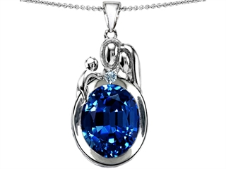 Original Star K(tm) Loving Mother And Father With Child Pendant With Oval 11x9mm Created Sapphire
