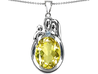 Original Star K(tm) Loving Mother And Father With Child Pendant With Oval 11x9mm Simulated Yellow Sapphire