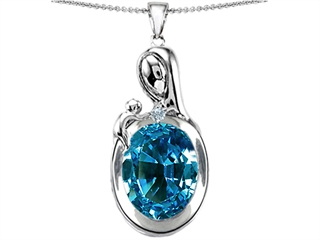Original Star K(tm) Loving Mother With Child Family Pendant With Oval 11x9mm Simulated Blue Topaz