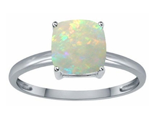 Tommaso Design(tm) Genuine Opal 7mm Cushion Cut Solitaire Engagement Ring