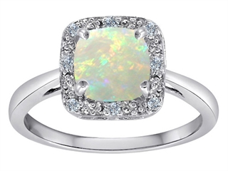 Tommaso Design(tm) Classic Cushion Cut Designer Ring with Genuine Diamonds and Opal