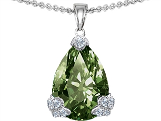 Original Star K(tm) Large 11x17 Pear Shape Simulated Green Sapphire Designer Pendant