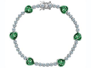 Original Star K(tm) Classic Heart Shape 7mm Simulated Emerald Tennis Bracelet