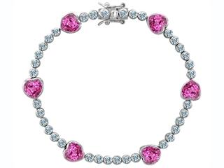 Original Star K(tm) Classic Heart Shape 7mm Created Pink Sapphire Tennis Bracelet