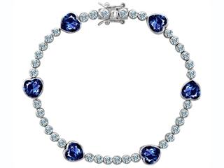 Original Star K(tm) Classic Heart Shape 7mm Created Sapphire Tennis Bracelet