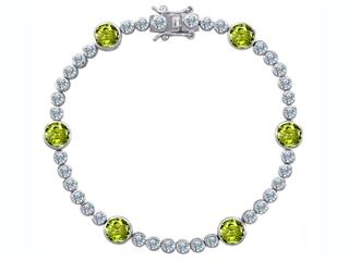Original Star K(tm) Classic Round 6mm Genuine Peridot Tennis Bracelet