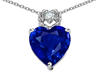 EZ Tommaso Design(tm) Heart Rope Pendant with Created Sapphire and Diamond