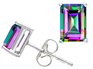 Tommaso Design(tm) Emerald Cut 7x5mm Rainbow Mystic Topaz Earring Studs