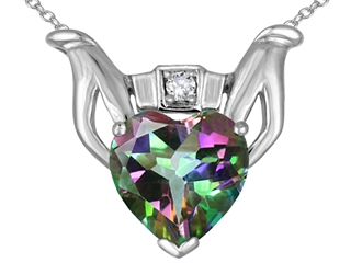 Celtic Love(tm) by Kelly Claddagh Love Pendant With Rainbow Mystic Topaz and Genuine Diamond