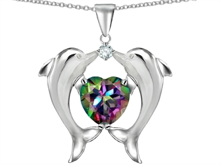 Original Star K(tm) Kissing Love Dolphins Pendant With 8mm Heart Shape Mystic Rainbow Topaz