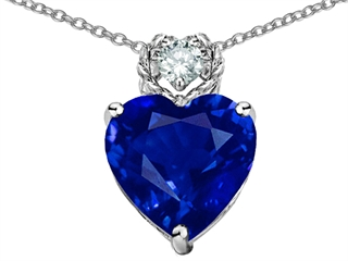 EZ Original Star K(tm) 8mm Heart Shape Created Blue Sapphire Pendant