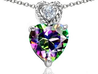 Original Star K(tm) 8mm Heart Shape Rainbow Mystic Topaz Pendant