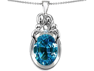 Original Star K(tm) Large Loving Mother Twin Family Pendant With Oval 11x9mm Simulated Blue Topaz