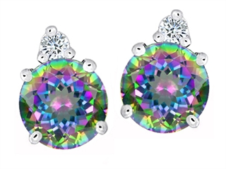 Original Star K(tm) Round 7mm Rainbow Mystic Topaz Earring Studs