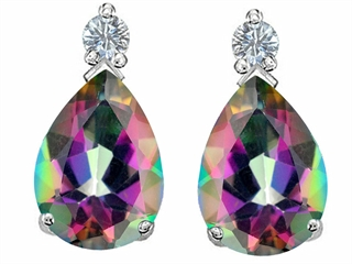 Original Star K(tm) Pear Shape 8x6mm Rainbow Mystic Topaz Earring Studs