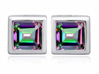 Original Star K(tm) 8mm Square Cut Mystic Rainbow Topaz Earring Studs