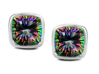 Original Star K(tm) 8mm Cushion Cut Mystic Rainbow Topaz Earring Studs