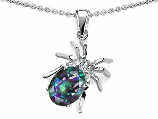 Original Star K(tm) Spider Pendant With 9x7mm Oval Rainbow Mystic Topaz