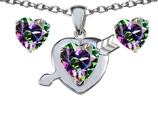 Original Star K(tm) Rainbow Mystic Topaz 8mm Heart with Arrow Pendant Box Set with Free matching earrings