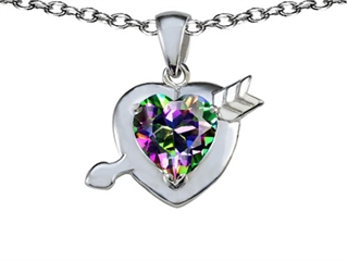 Original Star K(tm) Heart with Arrow Love Pendant with Rainbow Mystic Topaz