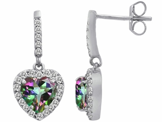 Original Star K(tm) 6mm Heart Shape Rainbow Mystic Topaz Dangling Heart Earrings