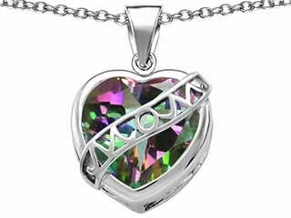 Original Star K(tm) Large Love Mom Mother Pendant with 15mm Heart Shape Rainbow Mystic Topaz