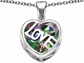 Original Star K(tm) Large Love Heart Pendant with 15mm Heart Shape Rainbow Mystic Topaz