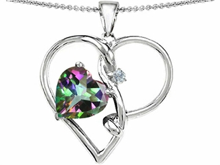 Original Star K(tm) Large 10mm Heart Shape Rainbow Mystic Topaz Knotted Heart Pendant